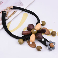 2018 New Arrival coming black wooden beads chokers for women necklaces pendants collares largos