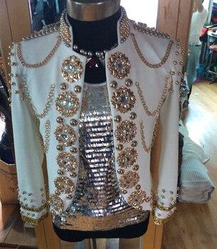 New Pure Handmade Men's Fashion Royal White Rhinestone suit Jacket Nightclub DJ Singer Stage Performance  show Outerwear