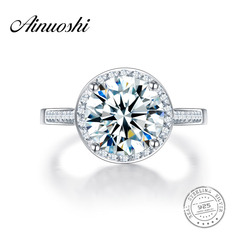 AINUOSHI Lucury Big Halo Engagement Ring 2.65 Carat Round Cut Jewelry Women 925 Sterling Silver Wedding Band Ring Femme Bijoux