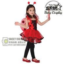 Chica Trajes Mariquita Insectos Cosplay Del Partido Vestido de Los Cabritos 4-12 T Niños Ropa Rendimiento Performance Carnaval Vestido de Desgaste Del Partido(China (Mainland))