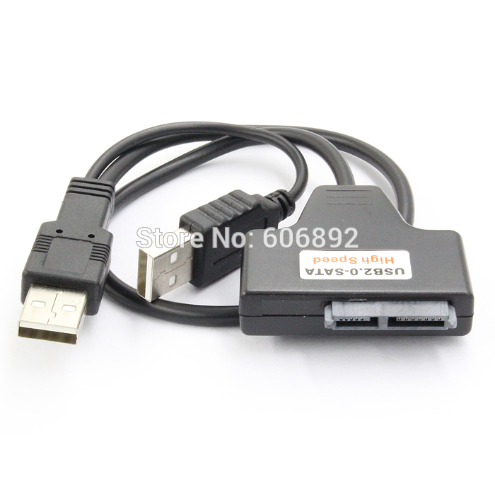 USB 2.0 Sata Cable to 7+6 13 13P Pin Serial ATA Slim Slimline SATA 2.0 II Laptop CD/DVD Optical Device Adapter Converter Cable