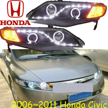 Civi headlight,2006~2011 (LHD,RHD need add 200USD),Free ship! Civi daytime light,2ps/se+2pcs Aozoom Ballast,crosstour,city,Civi