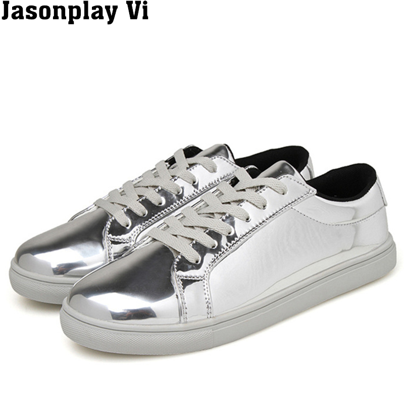 ФОТО Jasonplay Vi & 2016 New Brand Fashion Solid Color Flats Breathable Mirror Man shoes Autumn winter style Casual Shoes Men WZ438