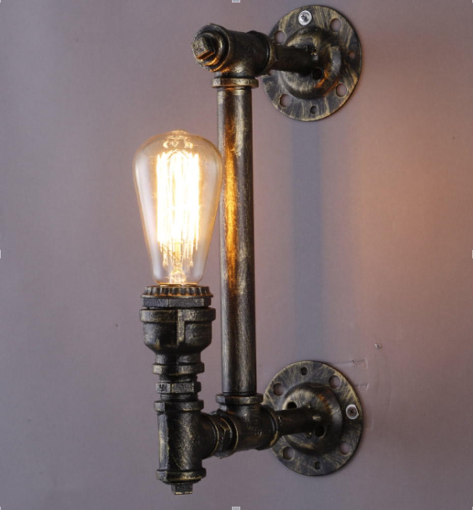 E26/E27  Loft Industrial Iron Rust Water Pipe Retro Wall Lamps Vintage  LED Sconce Wall Lights For Living Room Bedroom Bar 2 lights retro black metal vintage water pipe bedside wall lamps with led edison e27 lights for loft bar bedroom living room