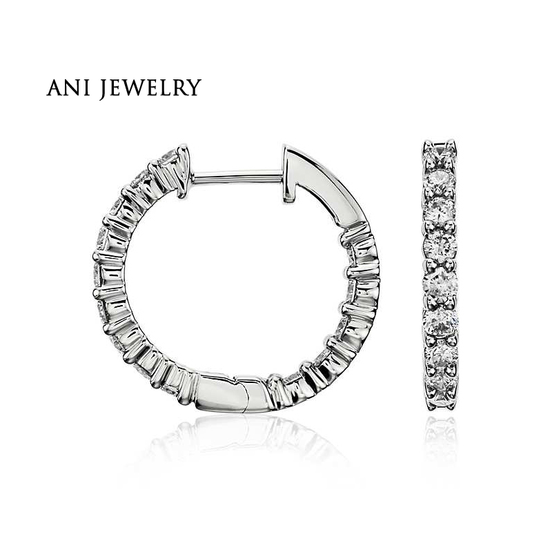 ANI 14k White Gold Women Circle Earrings 0.95 CT Certified I/S1 Natural Diamond Accessories Simple Circle Vintage Earrings pair of simple asymmeteric circle solid color earrings for women