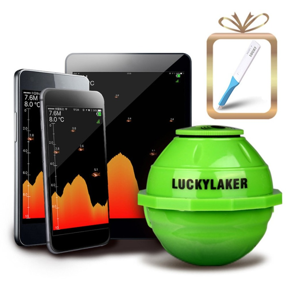 Lucky FF916 Wireless Sonar Fish Finder 45M Detecting Echo Sounder Fish Detect Device For IOS Android Fishfinder +WIFI Amplifier lucky fishing sonar wireless wifi fish finder 50m130ft sea fish detect finder for ios android wi fi fish finder ff916