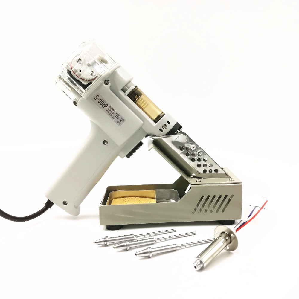 Tools : Automatic Suction Tin Electric Absorb Gun  S-998P Electric Vacuum Double-Pump Solder Sucker Desoldering Gun 110 220V 100W
