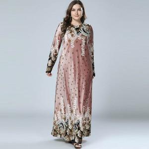 Image 4 - נשים חורף שמלות הדפסת Bronzing קטיפה העבאיה מוסלמי מקסי שמלת האסלאמי ערבית Abayas ארוך שרוול שמלת פקיסטני דובאי M 4XL