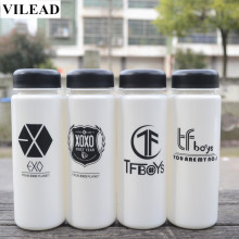 VILEAD Plastic Fashion EXO Water Bottle 500ml Creative Sport Lemon Juice Shaker BPA Free Drinking Bottle Summer Outdoor Bottle