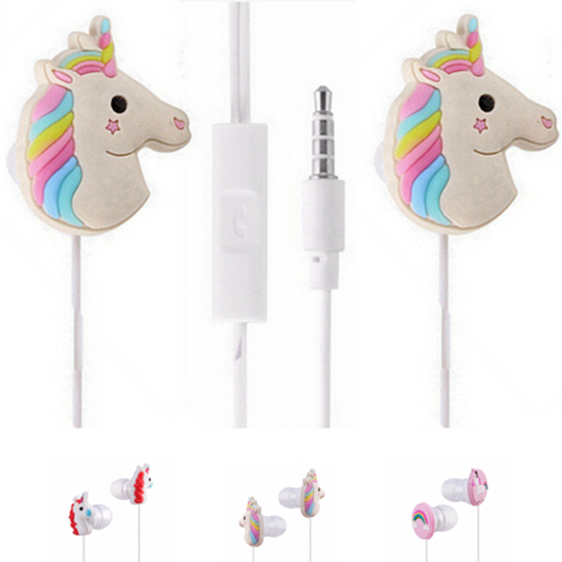 Cute 3.5mm AUX Unicorn Music Headphones Cartoon Earphone Earbuds Rainbow Horse Headset with Mic Nice Gift for Daughters Children cute cartoon for skeletons stars baymax foldable wired headwear headphones earphone headset durable random color