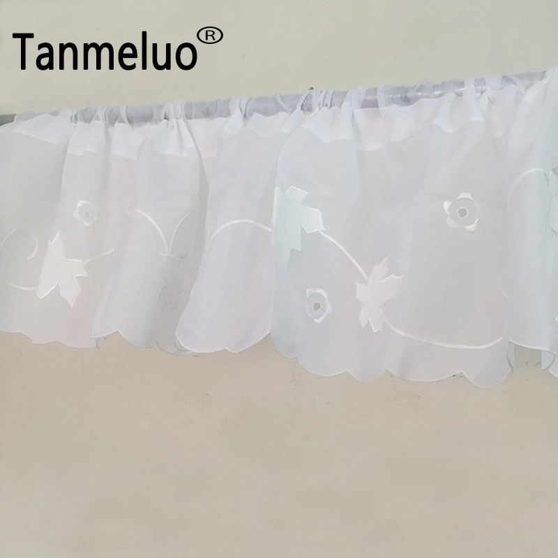 30 X 150 CM European Embroidery Tulle Curtain Finished Maple White Kitchen Curtain Coffee Short Kitchen Curtain Valances