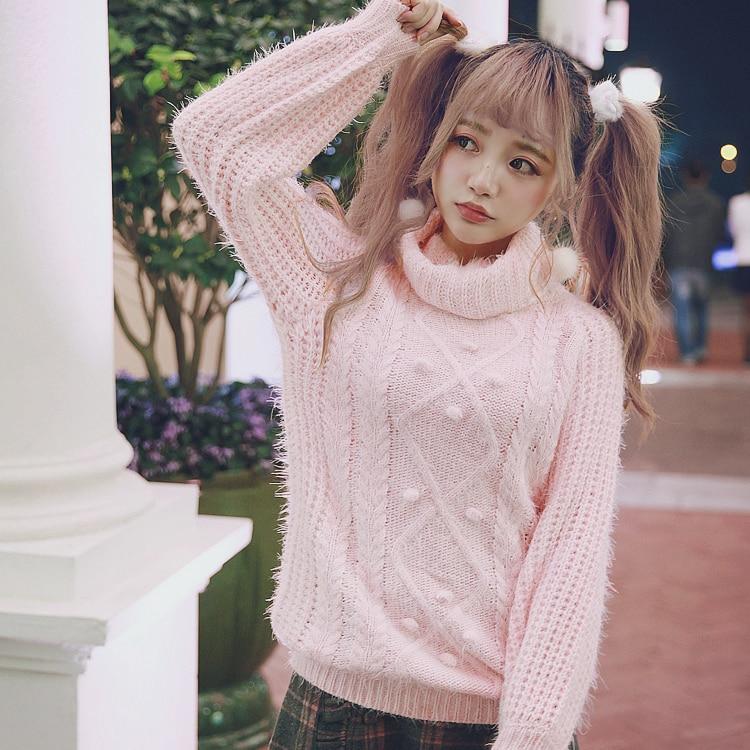 rosado Suéter Macarons Estudiante Azul Rosa Estilo Dulce T1417 Cielo Gargantilla Princesa Retro Sentido Color Lolita Bobon21 Chica Y 6T0nR0gXWq