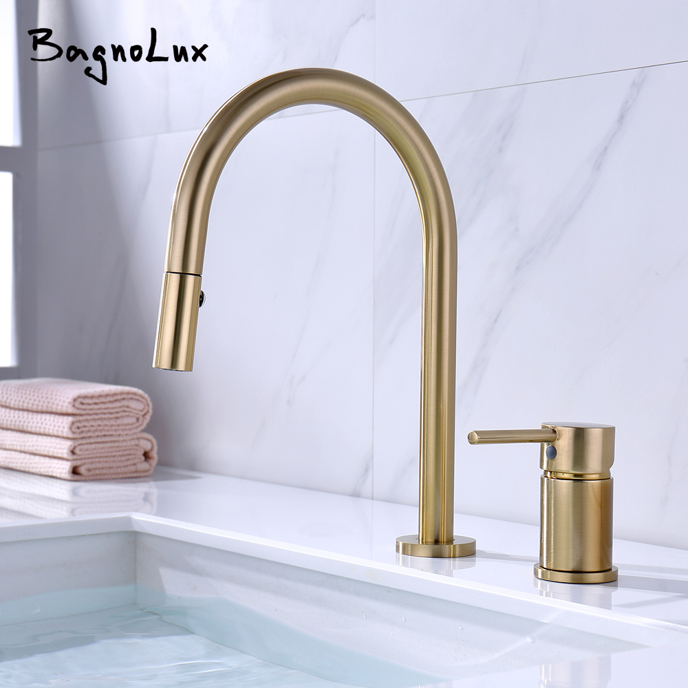 Dual Holes Singe Handle Design Faucet Kitchen Sink Faucet Matt Burnish Gold Brass Double Hole Pull Out Deck-Mount Mixer Tap