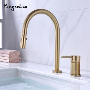 Image 1 - Dual Holes Singe Handle Design Faucet Kitchen Sink Faucet Matt Burnish Gold Brass Double Hole Pull Out Deck Mount Mixer Tap