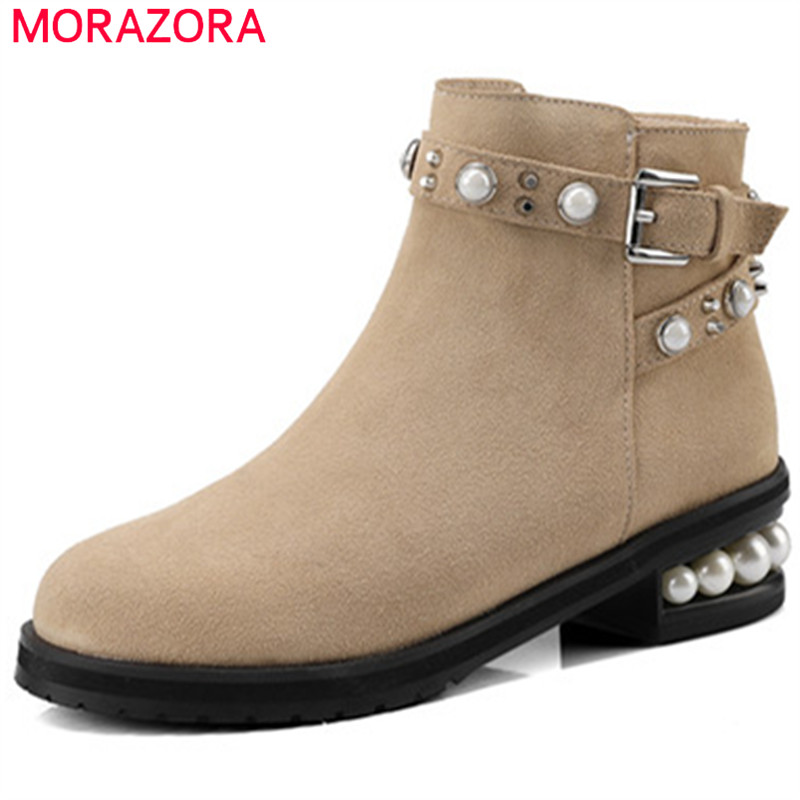 MORAZORA Large size 34-44 med heels shoes woman cow suede top quality ankle boots for women fashion boots solid rivets morazora fashion punk shoes woman tassel flock zipper thin heels shoes ankle boots for women large size boots 34 43