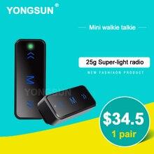 YONGSUN Mini Professional Walkie Talkie 0.5W UHF 400-480MHz PTT Portable Ultra-Slim Two Way Radio Interphone With Headset 2PCS