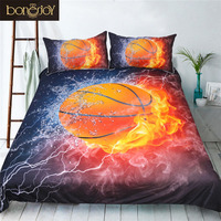 Bonenjoy 3D Bedding Set Queen Size Duvet Cover Sets Red Fire Basketball Print Bed Covers for Boys Sport Style Quilt Cover Set