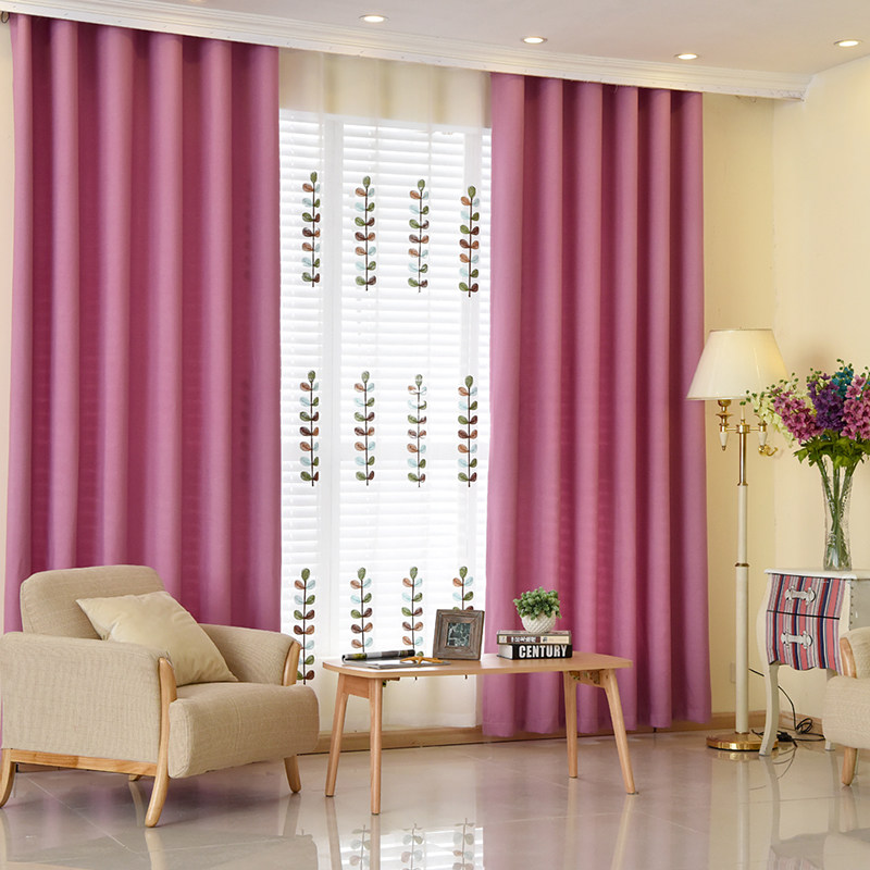 Modern Linen Curtains for Living Room Bedroom Solid Window Blackout ...