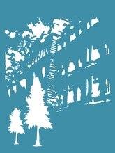 Crafter Companheiro da cidade de plástico árvore cor camadas stencil para pintura, tinta, selo para colorir desenho suprimentos stencil template