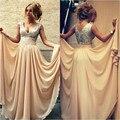 2015 Custom Made longo vestido de noite Sexy Champagne A linha V Neck Champagne Chiffon Prom Dress 2015 nova vestidos de baile P70