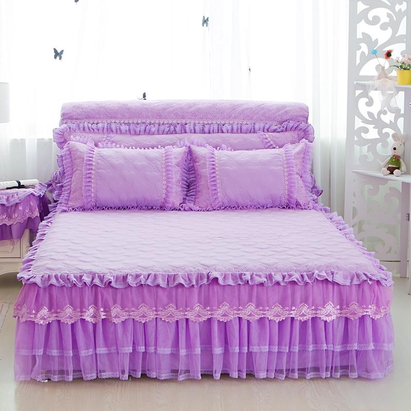 3pcs Princess Lace Beige Pink Purple Bed Skirt Full Queen King Size Ruffles Bedspread Pillowcase