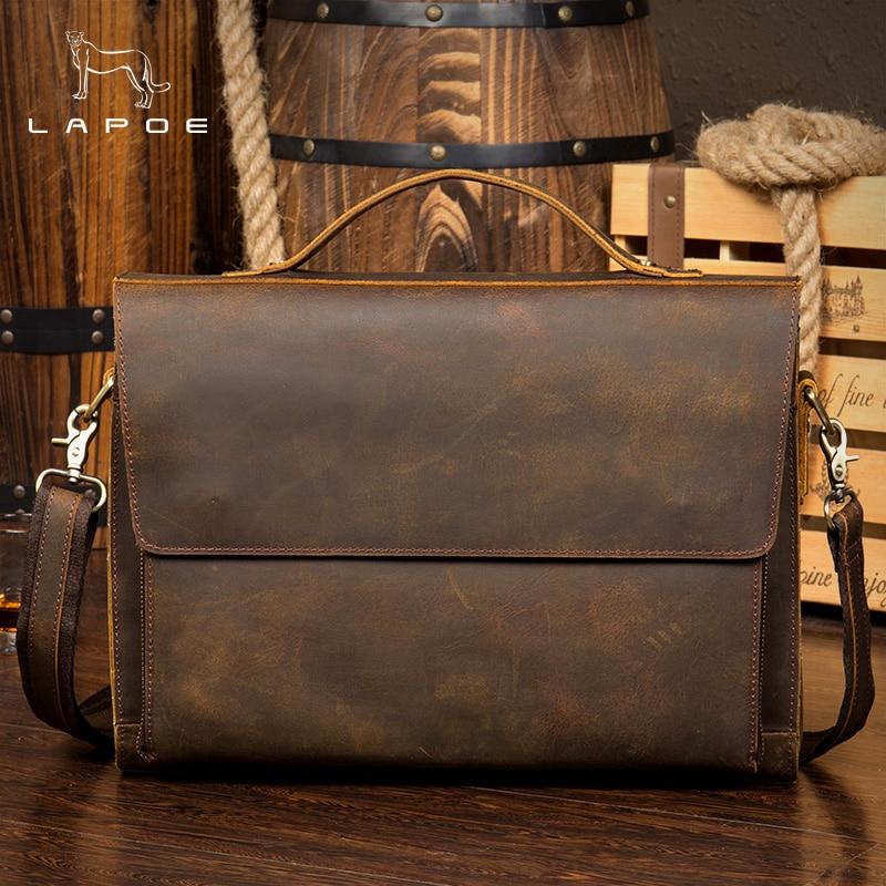 LAPOE Vintage crazy horse en cuir messenger sac A4 Véritable sac à bandoulière en cuir iPad Épais Vache sac d'école en cuir rabat magnétique