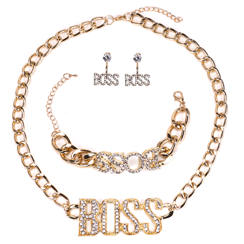 BOSS Luxury Letter Drop Chain Necklace Jewelry Set for Ladies Crystal Chain Fashion Jewelry Men Gift Sets For Women schmuck Sets