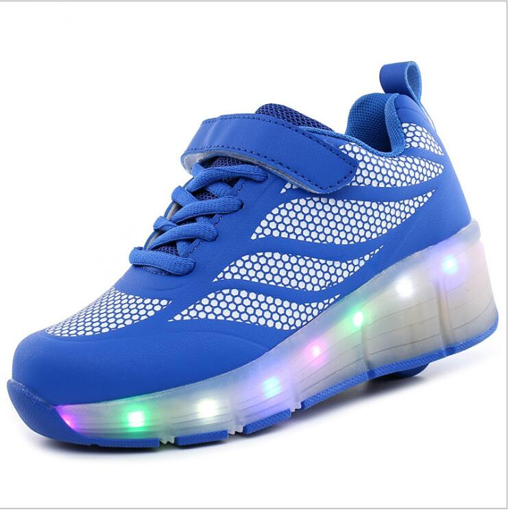 30-39 PU leather Single Wheel Glowing Roller Sneakers LED Light Skates Shoes Boys Girls Little Kids/Big Kids Flashing Board joyyou brand usb children boys girls glowing luminous sneakers with light up led teenage kids shoes illuminate school footwear