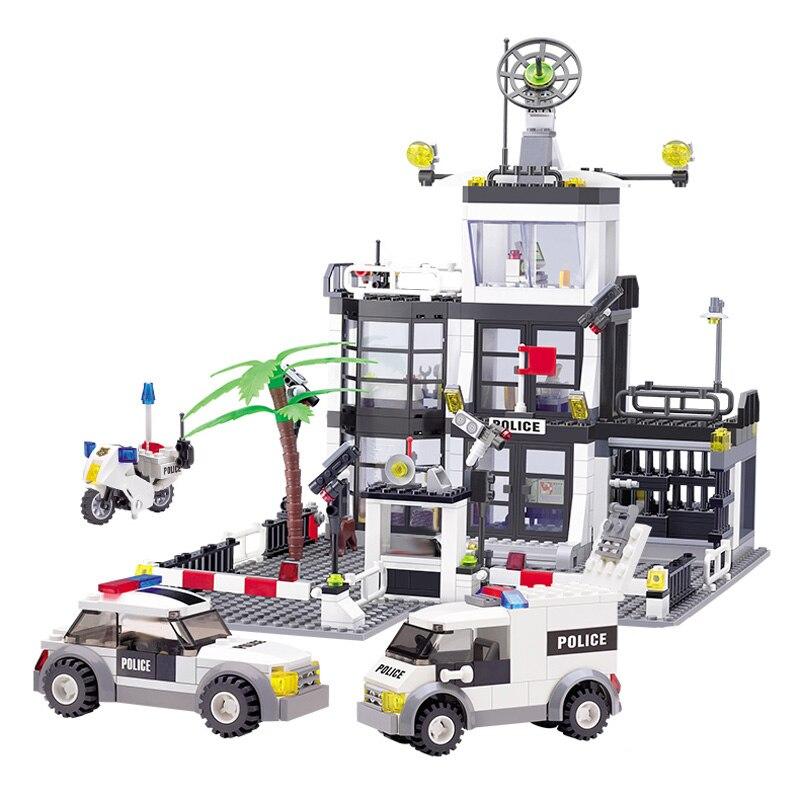 631 + PCS Delegacia Blocos De Construção Da Cidade Blocos de Construção 3D Modelo DIY Bricks Brinquedos Brinquedos Para Crianças Presentes para Crianças