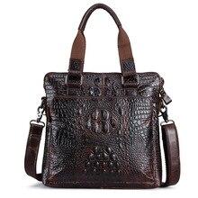 Кожа мужская бизнес-пакет мужская вертикальный разрез воловьей кожи крокодила модель сумки масло воск слой кожи плеча Messen