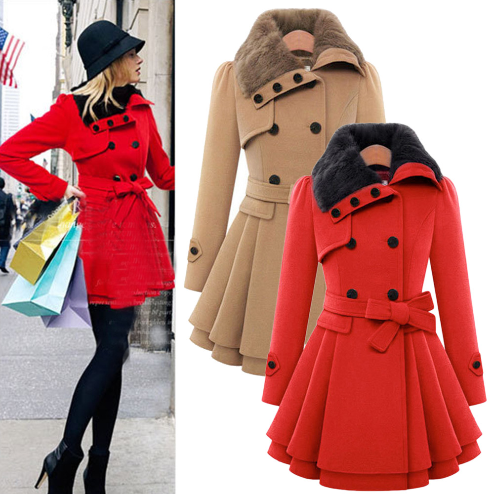 2015 Winter Coat Women Faux Fur Shawl Collar Lapel Ruffled Skirt ...