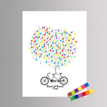 multi size love bicycle cavas painting for wedding party decor diy colorful ballon guest book fingerprint signature painting - Bicycle Coloring Book