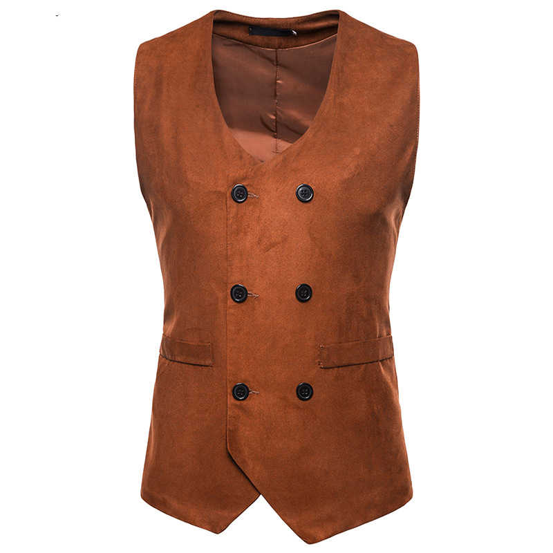 Herren Wildleder Anzug Weste 2018 Fashion Formal Business Casual Weste Weste Männer Gilet Business Hochzeit Smoking Weste Chaleco Hombre
