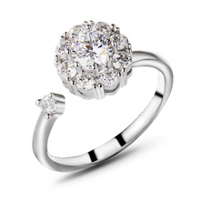 New fashion Romantic jewelry zircon flower ring personalized rotating wedding for woman gift J02824