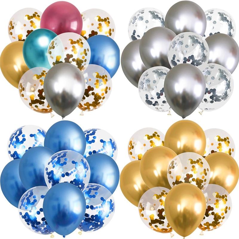 10 pçs metálico balão misturado ouro confetes balões festa de aniversário decoração crianças adulto bola de ar aniversário ballon decoração balony