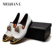 MeiJiaNa 2018 Brand New Luxury Men  Loafer Patchwork Of Genuine Leather And Horsehair Round Toe Slip On Dress Shoes