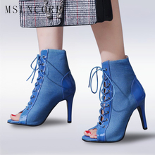 Plus Size 34-43 Summer Sandals Sexy Rome Gladiator Sandals Cross Strappy Peep Toe Women Ankle boots Lace Up Pumps Shoes Stiletto