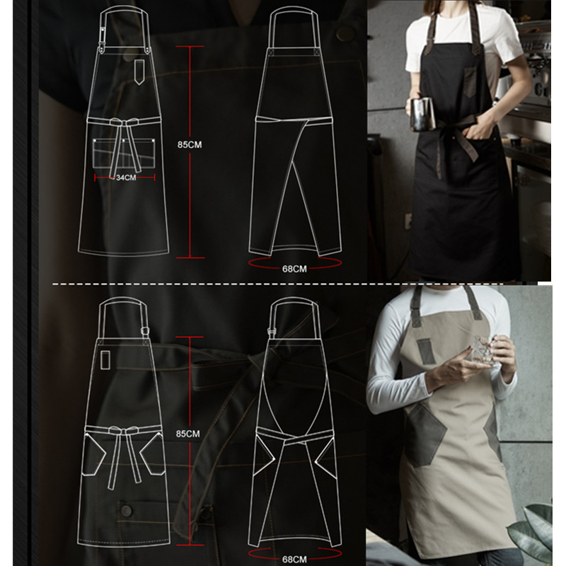504e1a5d687 Khaki Coffee Black Cotton Apron Barista Bartender Baker Waitstaff Chef  Restaurant Hotel Uniform Florist Gardener Work Wear D71-in Aprons from Home    Garden ...