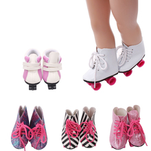 18 inch Girls doll shoes Winter roller skates Pulley shoes high shoe American newborn shoe Baby toys fit 43 cm baby dolls s128 18 inch girls doll shoes winter woolen slippers casual shoe american newborn accessories baby toys fit 43 cm baby dolls s129