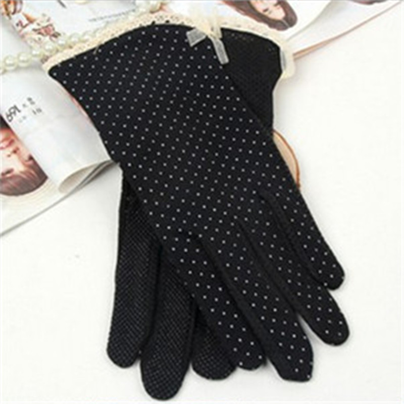 Black 2016 Women's Driving Slip-resistant Sunscreen Cotton Golves Fashion 1 Pair Summer/Autumn Sun Protection Non-slip Glove