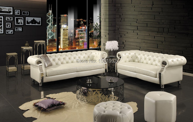 High End European Leather Sofa New Classical Solid Wood