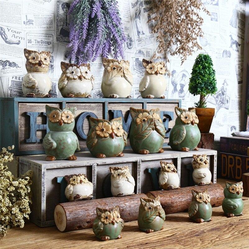 Groceries Mini Animal Owl Shelves Furnishings Retro Ceramic Owl Home Furnishings Retro Creative Vintage Home Desktop