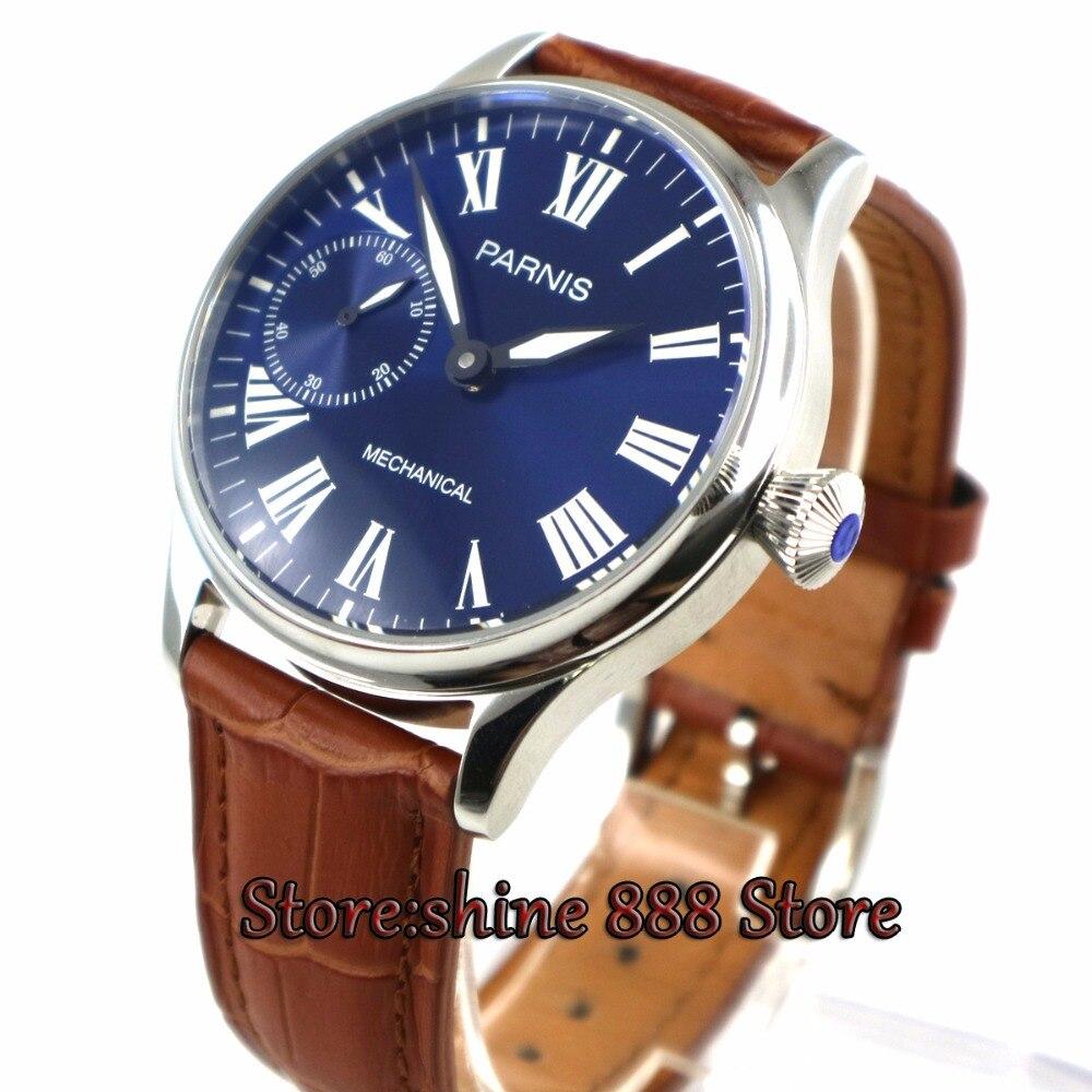 0c647bcb213 Chegam novas 44mm parnis mostrador Azul super luminous Caixa Em Aço  Inoxidável mão enrolamento 6497 mecânica mens watch P6 em Relógios mecânicos  de Relógios ...