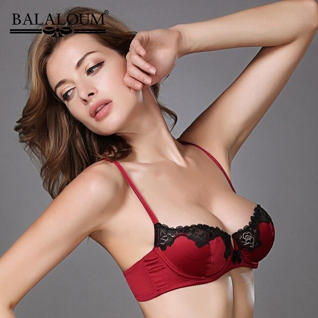 BALALOUM, sujetador Sexy para mujer, encaje Floral transparente, Ultra delgado, Bowknot, sujetador, Push Up, Demi Cup, lencería, ropa interior negra, roja, Rosa