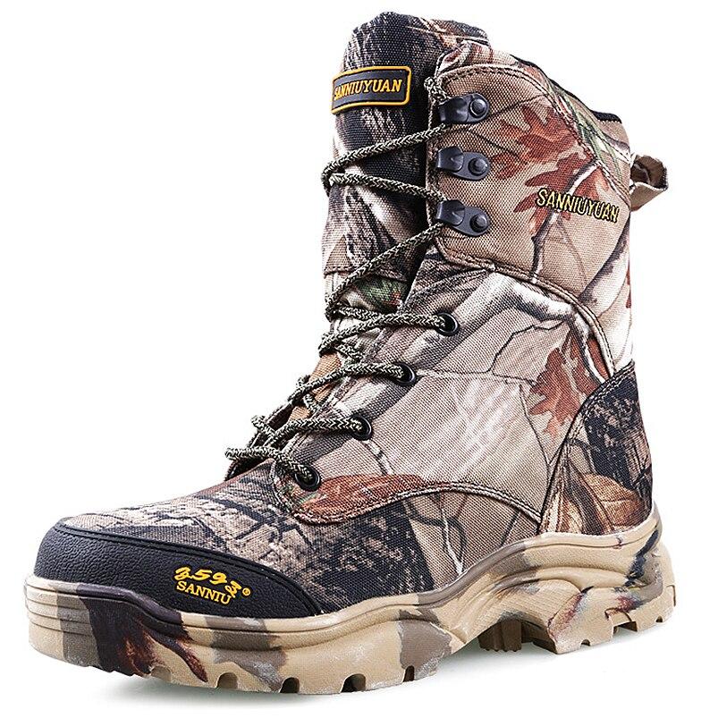 Новые уличные водонепроницаемые охотничьи сапоги камуфляжные зимние кроссовки зимние сапоги Плюшевые тактические мужские ботинки для взрослых прогулочная обувь - 2