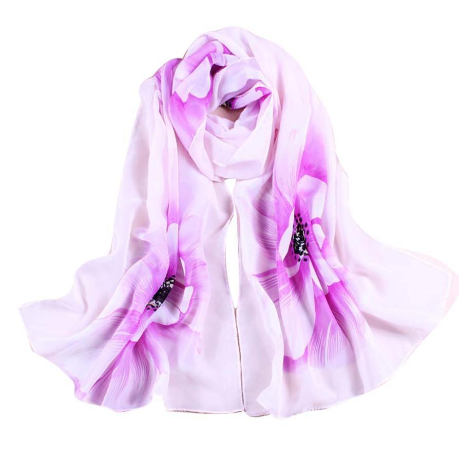 JAYCOSIN Fashion Women Soft Thin Chiffon Silk   Scarf   Flower printed   Scarves     Wrap   Shawl Spring New Fashion j5