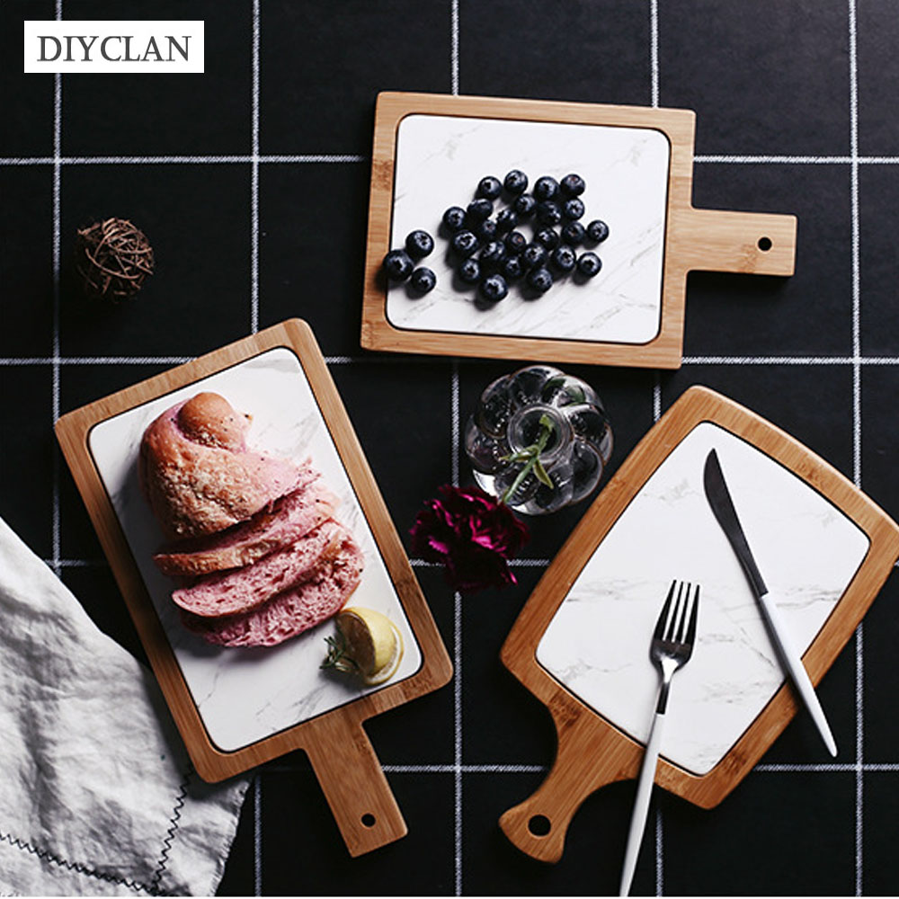 Bamboo Marble Dinner Plate Fruit Bread Board With Handle 2018 Creativity European Dinnerware Easy to Clean Food Sushi Plate Tray ...