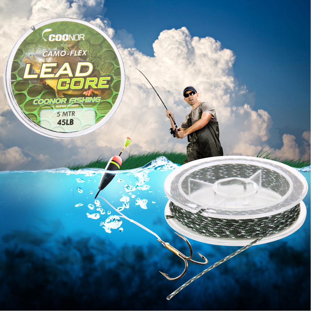 45lb 5m Fishing Line Leadcore Camouflage Carp Braided Line Hair Rigs ...