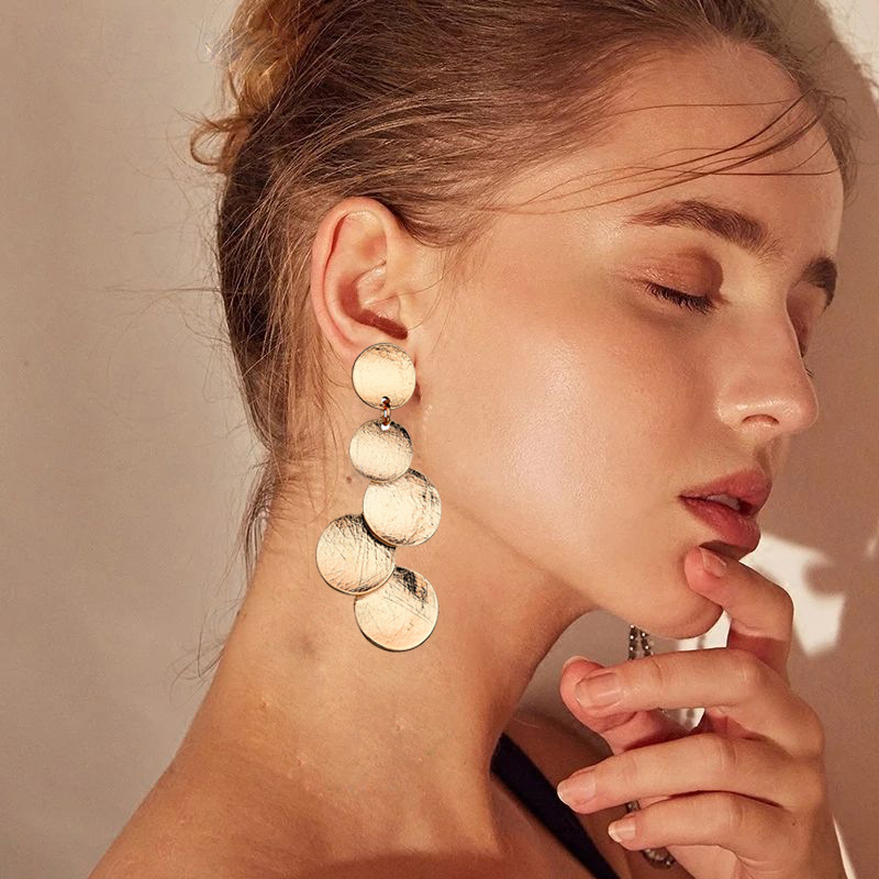Europe And America Exaggerated Disc Round Coin Drop Earring For Women Vintage Long Uneven Drawing Wafer Metal Earrings