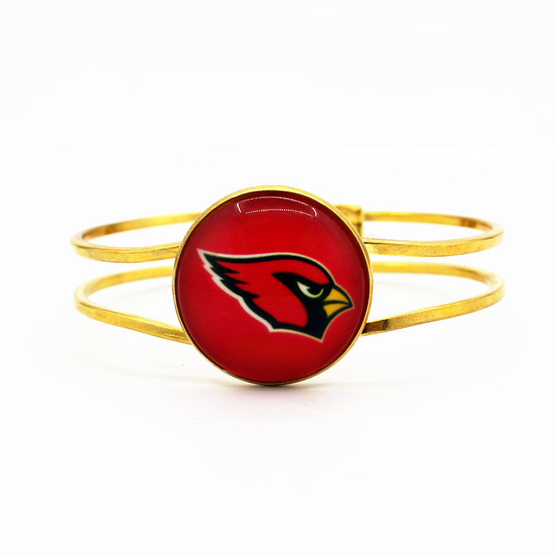 Hot selling 1pcs/lot Football glass Arizona Cardinals Team Sports Bracelet charms Silver Alloy Stretch bracelets for gift